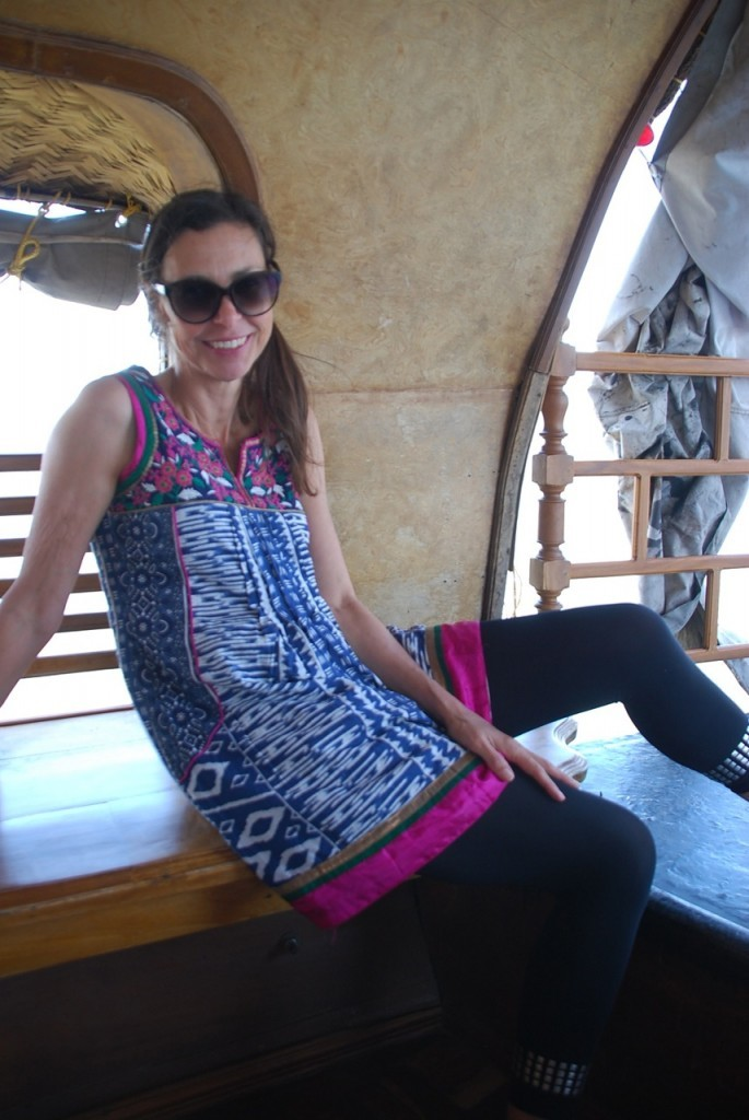 Julie Miller looking very relaxed on a house boat in Kerala